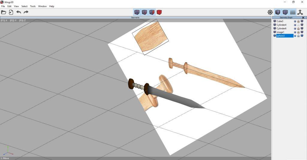 vista d'insieme del gladio romano riprodotto in grafica 3d